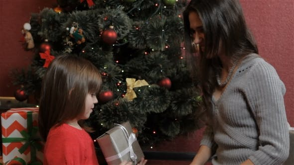 Thumbnail for Little Girl Gets the Christmas Gift From Her Mother