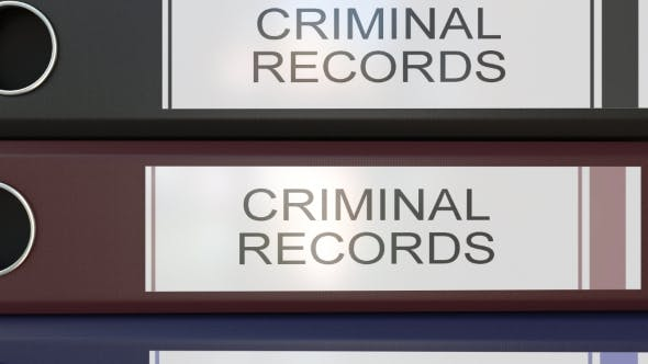 Thumbnail for Vertical Stack of Multicolor Office Binders with Criminal Records Tags