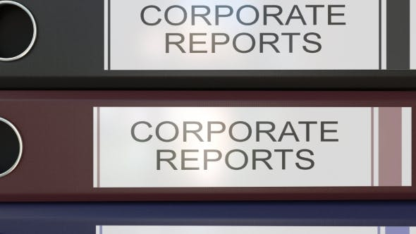 Thumbnail for Vertical Stack of Multicolor Office Binders with Corporate Reports Tags