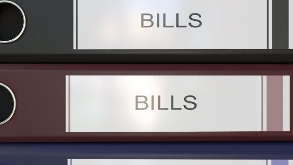 Thumbnail for Vertical Stack of Multicolor Office Binders with Bills Tags