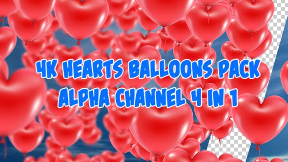 Thumbnail for 4K Balloons Hearts Pack 4 in 1