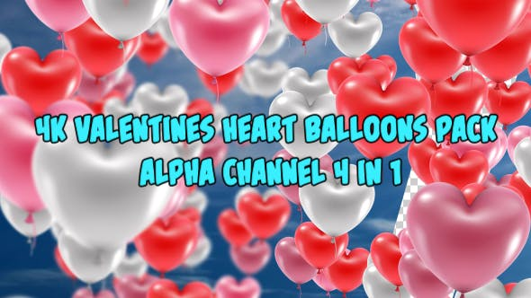4K Colorful Valentines Heart Balloons 4 in 1