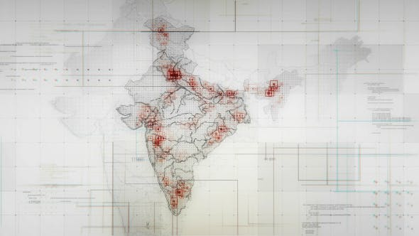Cover Image for White India Map with Lines Rollback Camera 4K