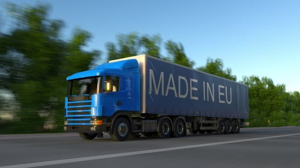 Thumbnail for Speeding Freight Semi Truck with MADE IN EU Caption on the Trailer