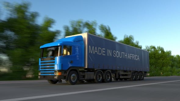 Thumbnail for Speeding Freight Semi Truck with MADE IN SOUTH AFRICA Caption on the Trailer