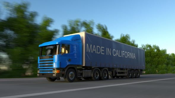 Cover Image for Speeding Freight Semi Truck with MADE IN CALIFORNIA Caption on the Trailer