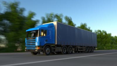 Speeding Freight Semi Truck