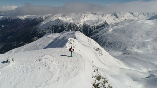 Thumbnail for Aerial View of Mountain Panorama. Woman on Top