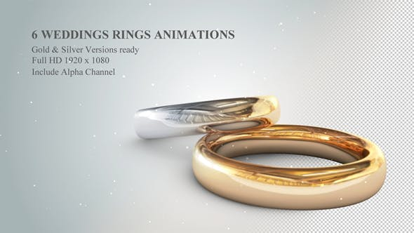Thumbnail for 6 3D Wedding Rings Animations