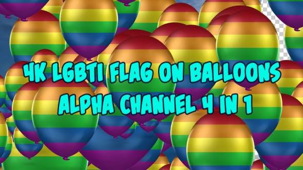 Thumbnail for 4K LGBT Flag On Balloons 4 in 1