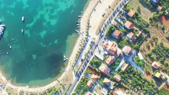 Thumbnail for Aerial view of highway traffic along the dalmatian coastline