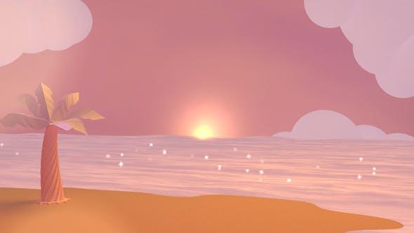 Thumbnail for Cartoon Beach At Dusk