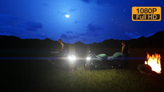 Thumbnail for Motorbike parked and rested at night