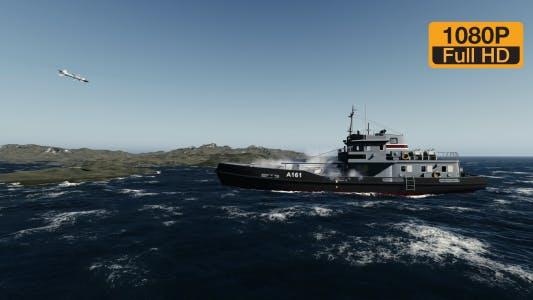 Thumbnail for Rocket-hit war ship