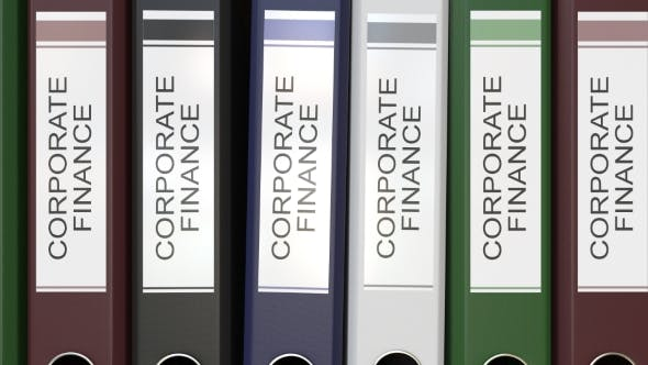 Multiple Office Folders with Corporate Finance Text Labels