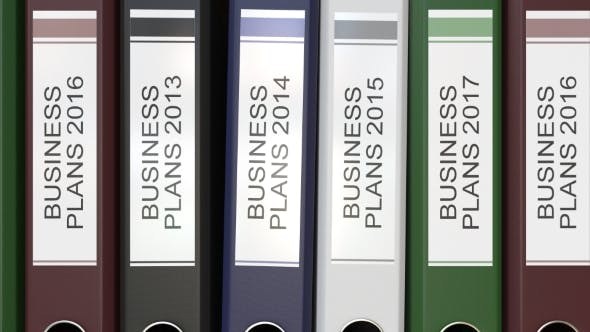 Thumbnail for Multiple Office Folders with Business Plans Text Labels Different Years