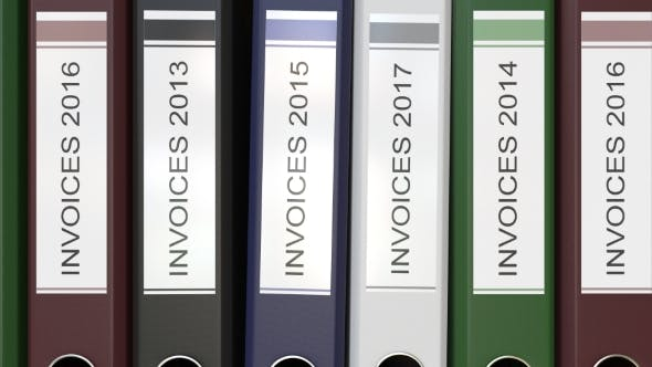 Thumbnail for Multiple Office Folders with Invoices Text Labels Different Years