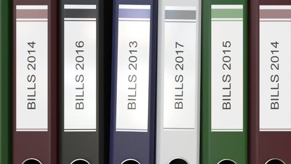Thumbnail for Multiple Office Folders with Bills Text Labels Different Years