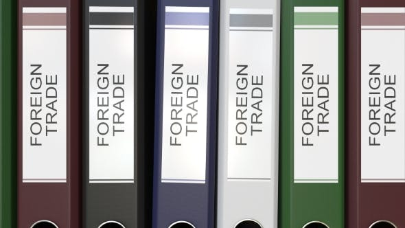 Thumbnail for Multiple Office Folders with Foreign Trade Text Labels