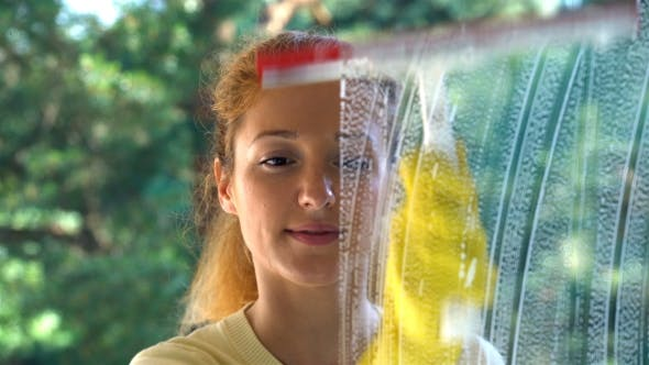 Thumbnail for Young Attractive Woman Washes a Window Using a Special Brush. Dolly Shot.