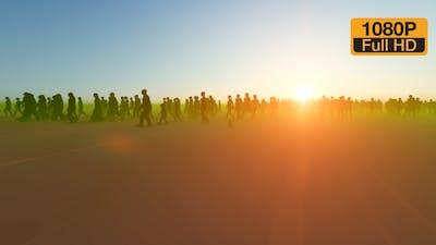 Silhouette People Walking