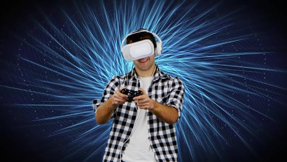 Thumbnail for Player in Virtual Reality Glasses on Background of Computer Graphics
