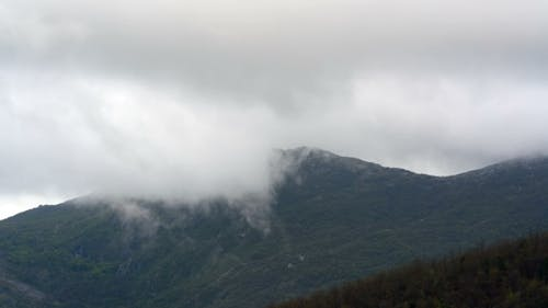 Clouds Formation in the Mountains in Cloudy Weather