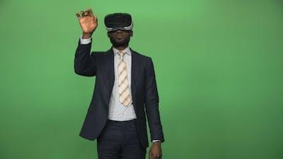 Black Man Using VR Glasses