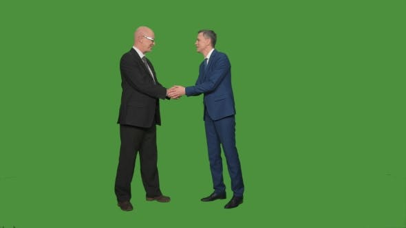 Thumbnail for Two Men in Suits Greeting and Talking