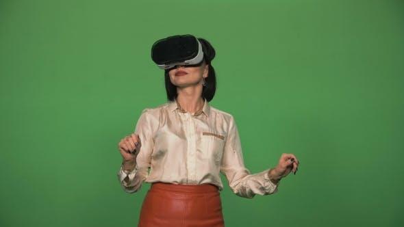 Businesswoman Using VR Glasses