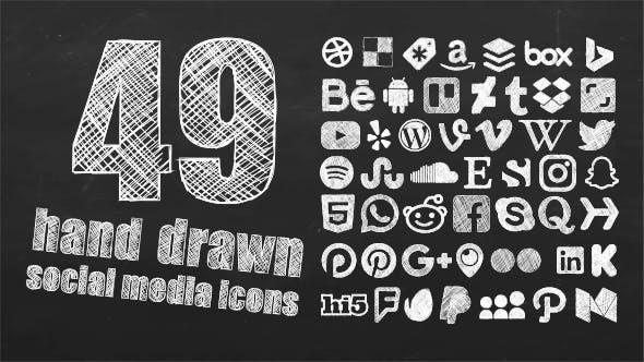 Thumbnail for 49 Animated Hand Drawn Social Media Icons