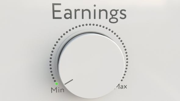 Thumbnail for Turning White Hi-tech Knob with Earnings Inscription From Minimum To Maximum
