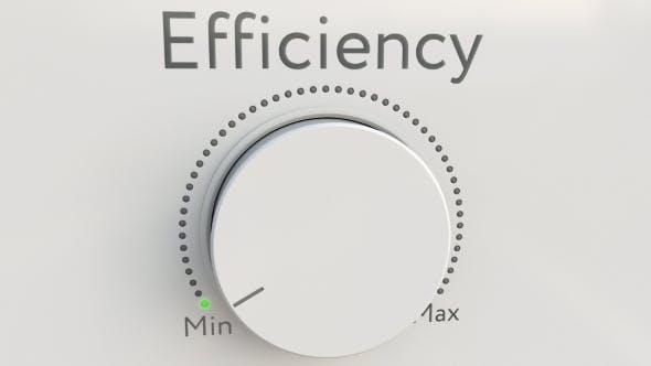 Turning White Hi-tech Knob with Efficiency Inscription From Minimum To Maximum