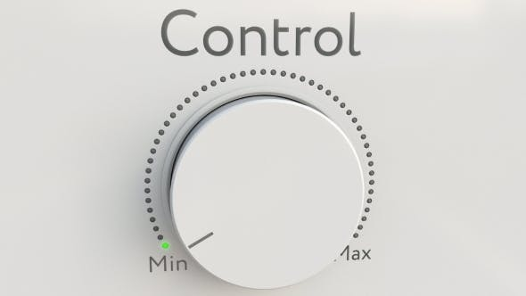 Thumbnail for Turning White Hi-tech Knob with Control Inscription From Minimum To Maximum
