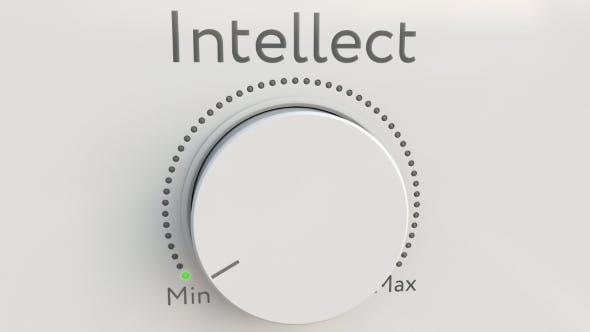 Thumbnail for Turning White Hi-tech Knob with Intellect Inscription From Minimum To Maximum