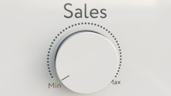 Thumbnail for Turning White Hi-tech Knob with Sales Inscription From Minimum To Maximum