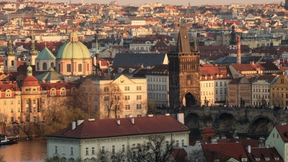 Thumbnail for Prague, Its Vlatva River, Taken As a Day-to Night Transition  Shot