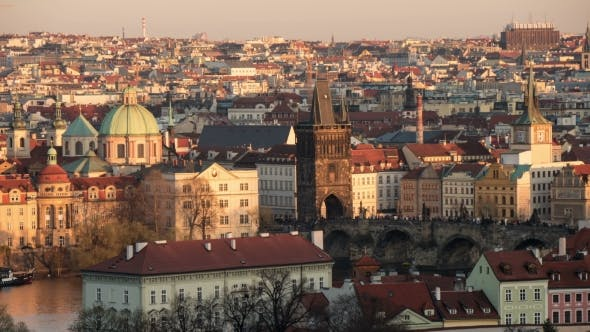 Thumbnail for The Vltava River with Gothic Buildings on Its Embankments Shot As a