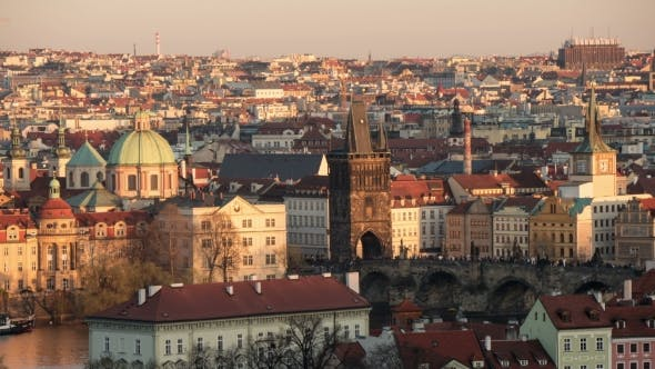Thumbnail for Prague and Its River, Taken As a Day-to Night Transition  Shot