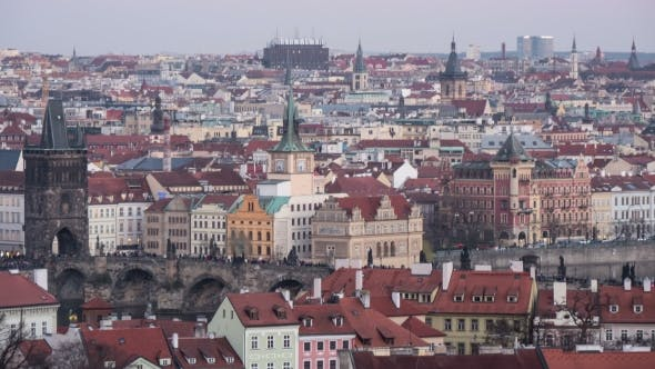 Cover Image for Prague, Its Central Part, Taken As a Day-to Night Transition  Shot