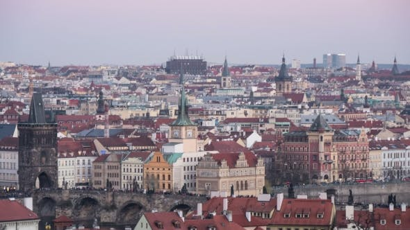 Cover Image for Shot of the Central Part of Prague with a Day=to-night Transition