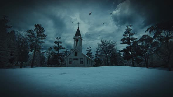 Horror Church Snow