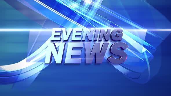 Thumbnail for Animation text Evening News and news intro graphic with lines and circular shapes in studio