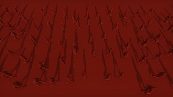 Thumbnail for Red Silhouettes of People Walking