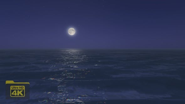 Thumbnail for 4K Full Moon and Ocean