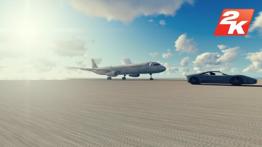 Thumbnail for Airplane and car racing daytime