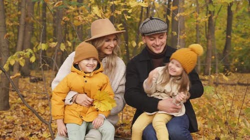 Cheerful Caucasian Family Have Spare Time Autumn Park Forest