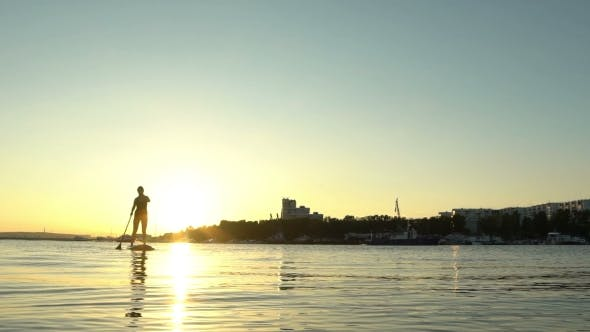 Thumbnail for Beautiful Woman on Stand Up Paddle Board. SUP.
