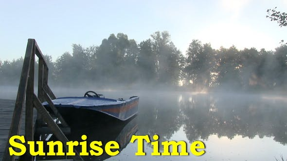 Thumbnail for Fog On The Lake At Sunrise Time. Early Morning