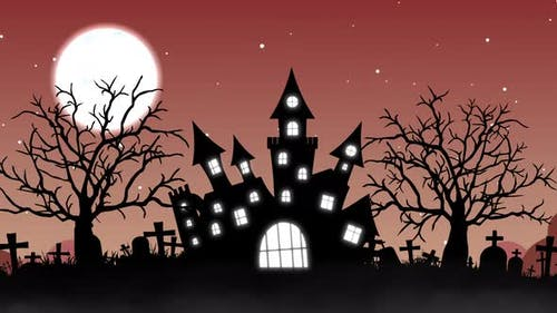 Halloween Background Animation with the Concept of Haunted Castle and Moon